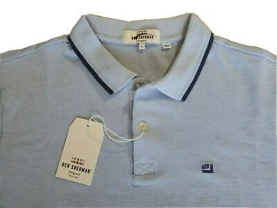 MEN/'S BEN SHERMAN POLO SHIRT IN BLUE WITH NAVY TIPPING AND BRANDING