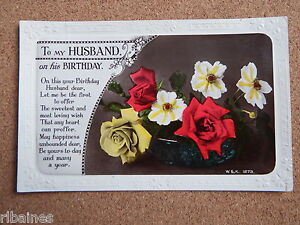 Image Is Loading R Amp L Postcard Husband Birthday Wishes Bouquet