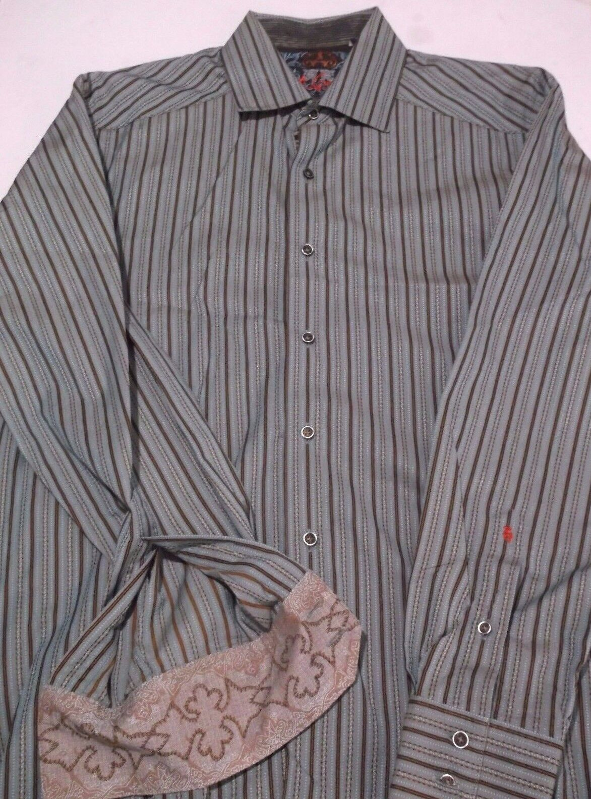 Robert Graham Striped Button-Up Dress Shirt FLORAL Button Seam & Cuff Men's M