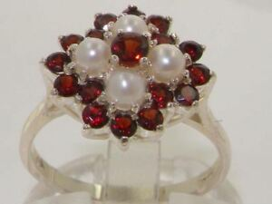 WOW SOLID 925 STERLING SILVER NATURAL GARNET amp PEARL HIGH QUALITY CLUSTER RING - Watford, United Kingdom - WOW SOLID 925 STERLING SILVER NATURAL GARNET amp PEARL HIGH QUALITY CLUSTER RING - Watford, United Kingdom