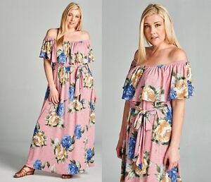 PLUS SIZE RUFFLE ROMANTIC PINK FLORAL OFF SHOULDER MAXI DRESS XL 1X ...