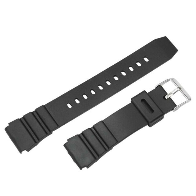 18mm Mens Military Black Silicone Rubber Waterproof Sport Wrist Watch Band LQU