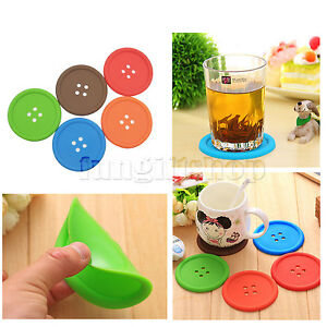 Set-of-5-Colorful-Cute-Button-Placemat-Heat-Proof-Mug-Cup-Coaster-Pad-Mat