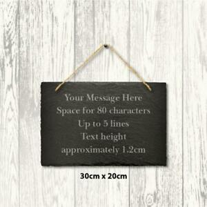 Large-Personalised-Slate-Sign-Engraved-Message-Plaque-Home-Wedding-30cm-x-20cm