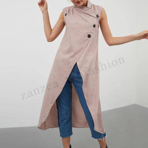 Womens Iregular Cardigan Sleeveless Sweater Sweatshirt Asymmetric Hem Tops Shirt