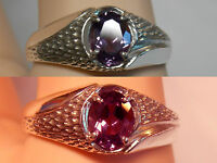 Mens 1.55ct Purple Raspberry Alexandrite 925 Sterling Silver Ring Size 10.5 Usa