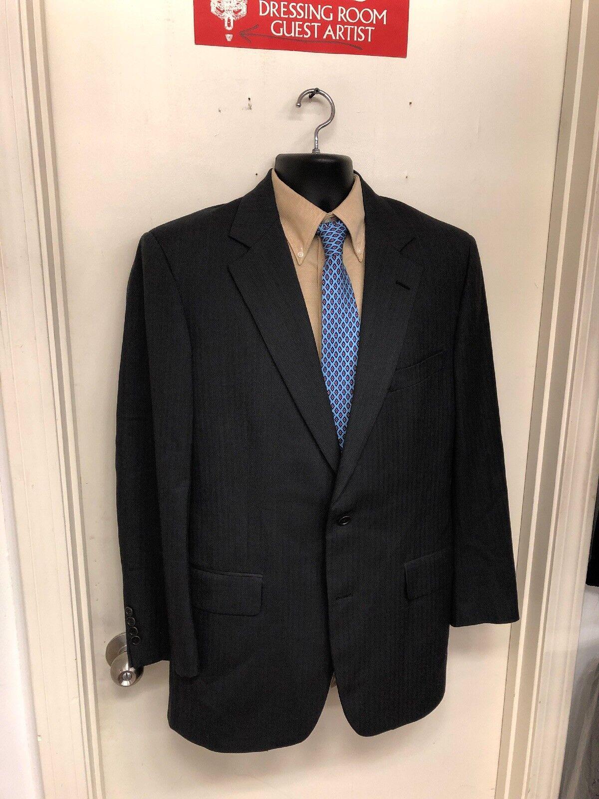 Brooks Brothers 1818 Madison Suit Saxxon Wool Größe 41L Pants 34x32 grau S-44