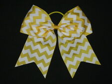 "NEW /""CHEVRON Yellow/"" Cheer Bow Pony Tail 3/"" Ribbon Girls Hair Cheerleading"