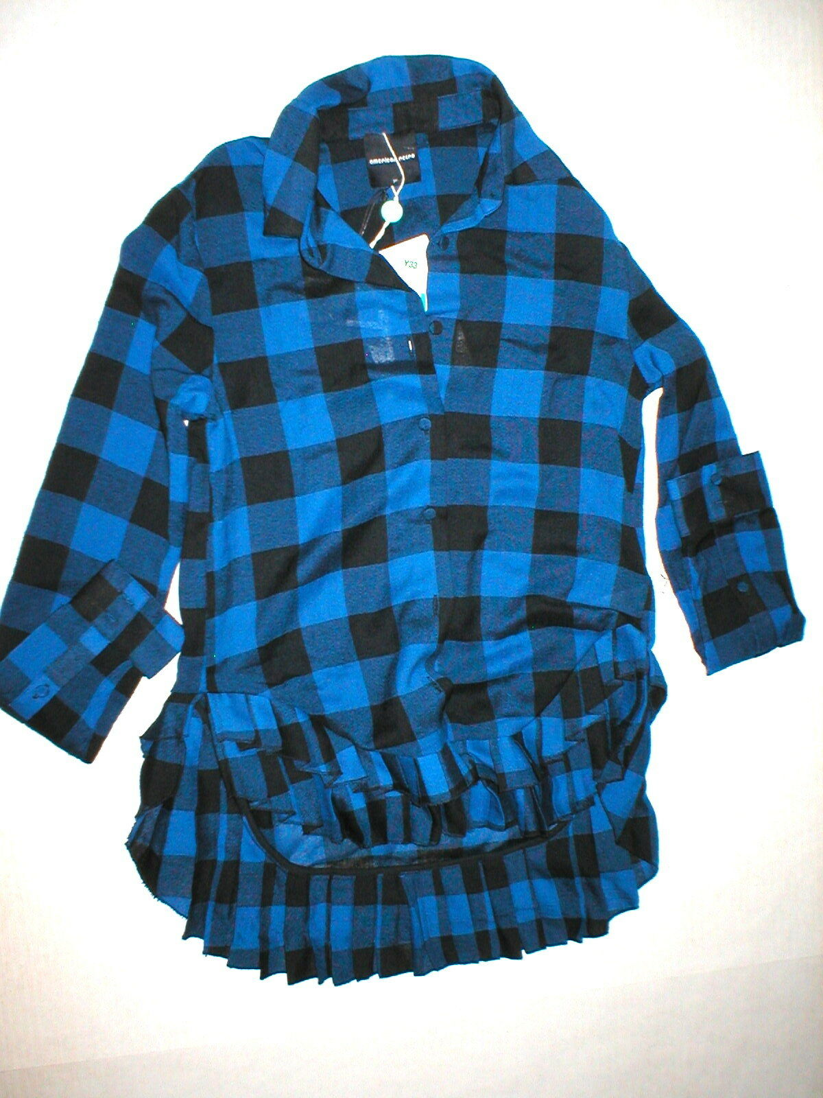 damen 4 New NWT 36 S American Retro Designer Plaid Top Shirt Pleat Blau schwarz