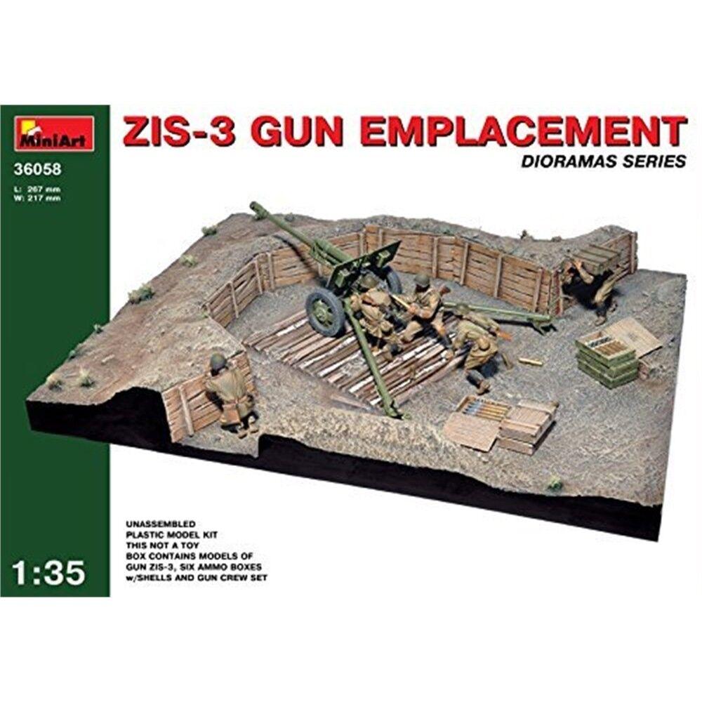Miniart 1 35 Scale Zis-3 Gun Emplacement Plastic Model Kit - 135 Zis3 Min36058