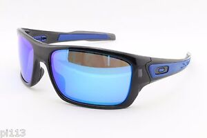 aa5e48095531c NEW Oakley Turbine 9263-05 Black Ink Sapphire Iridium Sports Surfing ...