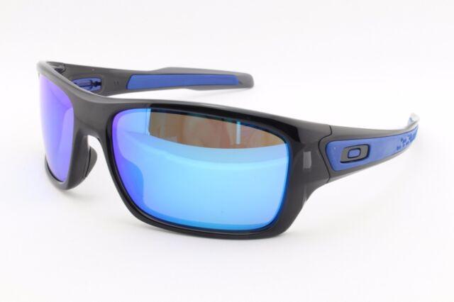 532bc44f60 NEW Oakley Turbine 9263-05 Black Ink Sapphire Iridium Sports Surfing  Sunglasses