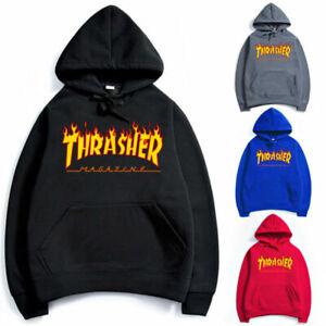 Men Women Unisex Hip-hop Hoodie Basic Skateboard Thrasher Sweatshirts Sweater