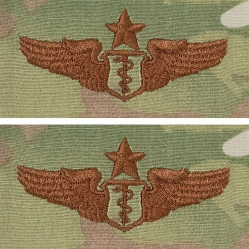 OCP PAIR AIR FORCE EMBROIDERED BADGE: FLIGHT SURGEON: SENIOR GENUINE U.S