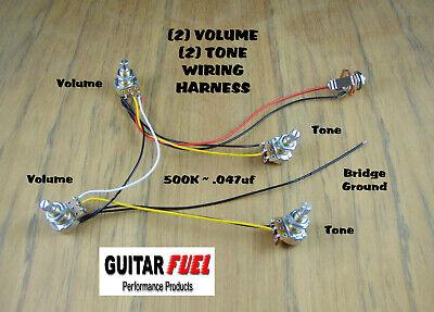 GUITAR FUEL Guitar Bass Wiring Harness (2) Volume (2) Tone 500K .047uf |  eBay | Guitar Output Jack Wiring Volume |  | eBay