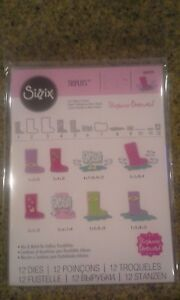 Sizzix-Ellison-thinlits-Triplits-rain-boots-New-in-package