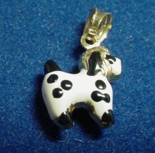 VERY CUTE 14K YELLOW gold DALMATIAN DOG CHARM ITALY 1.2 GRAMS