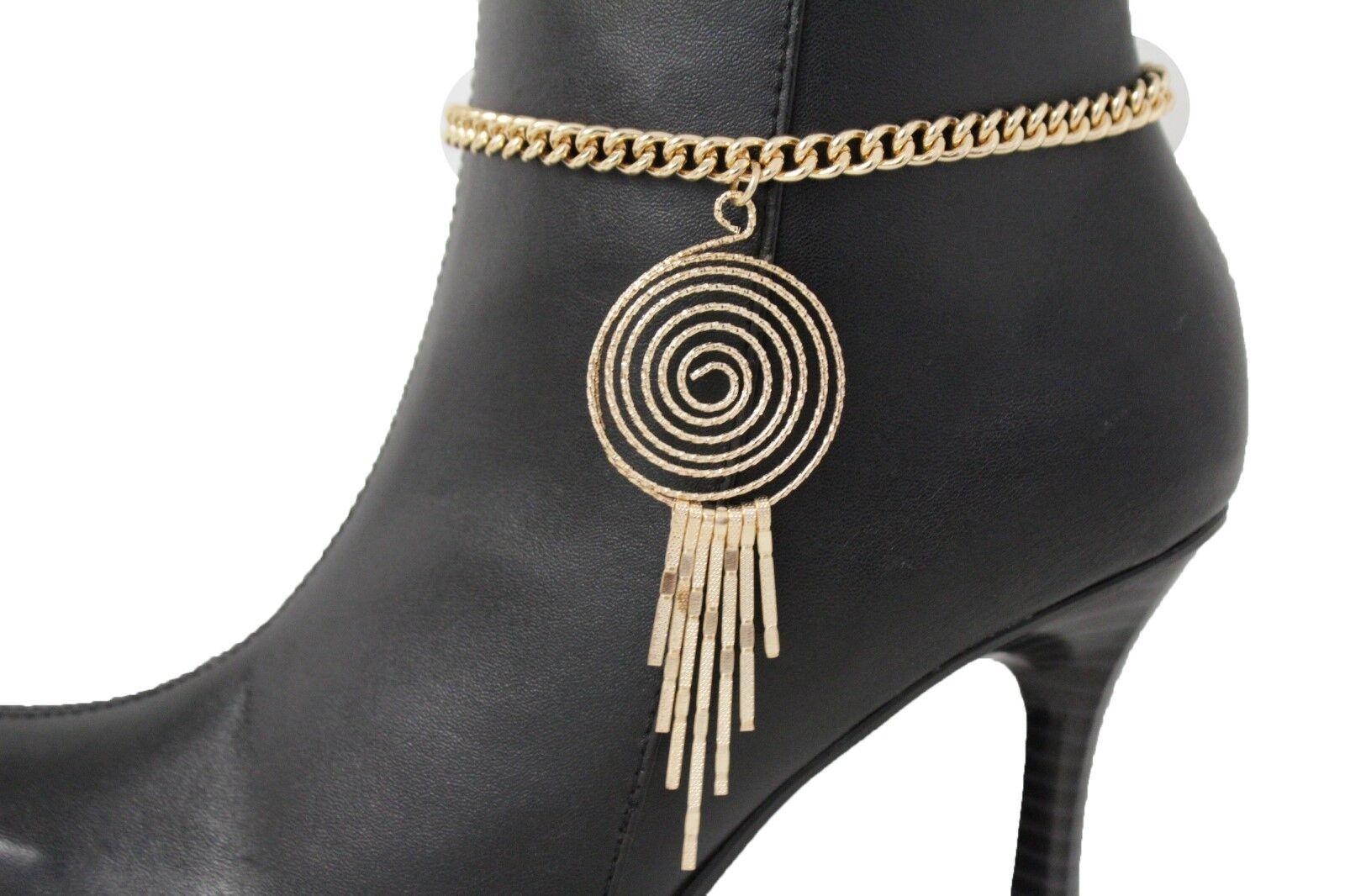 Sexy Women Gold Metal Western Boot Chain Bracelet Swirl Urban Shoe Charm Bling