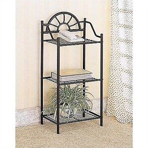 Wrought Iron Display Side Table 3 Shelf Phone Plant Stand Metal Bath Rack  Black