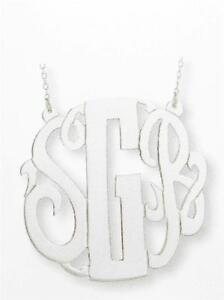 Special Order .925 Silver 3 Initial Monogram Hand Cut Necklace 16mm Diameter New