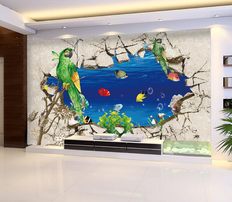 3D Bird Fish 22 Wall Paper Wall Print Decal Wall Deco Indoor Wall Murals