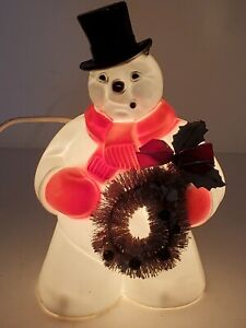 Vintage 1950s Royal Hard Plastic Blow Mold Snowman w/Bottle Brush Wreath w/Cord