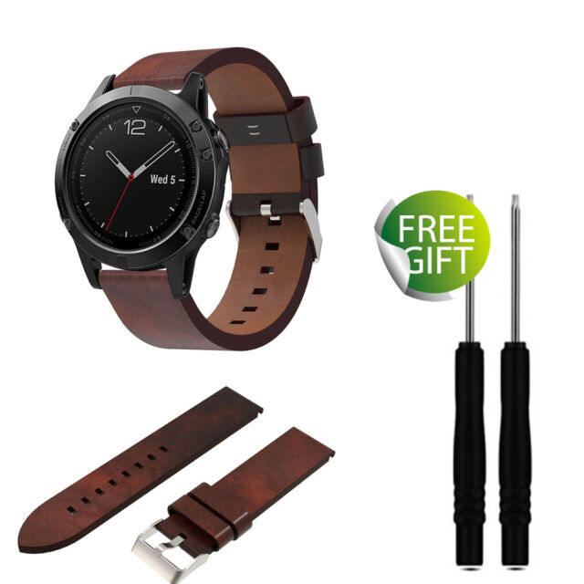 Luxury Leather Strap Replacement Watch Band With Tools for Garmin Fenix 5  GPS