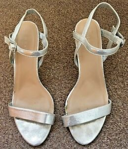 1926c078cd7 Details about Ladies New Look Silver Sling Back Peep Toe High Heeled Party  Shoes Size 8 SB11