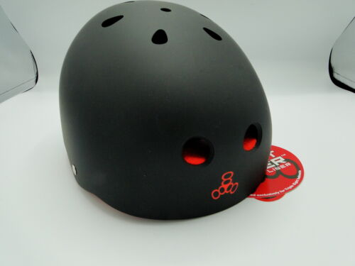 Large Triple Eight Sweatsaver Liner Skateboarding Helmet Black Rubber w// Red