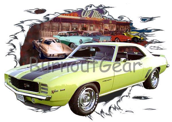 1969 giallo Chevy Camaro Z28 Custom Hot Hot Hot Rod Diner T-Shirt 69 Muscle Car Tees a4e2fd
