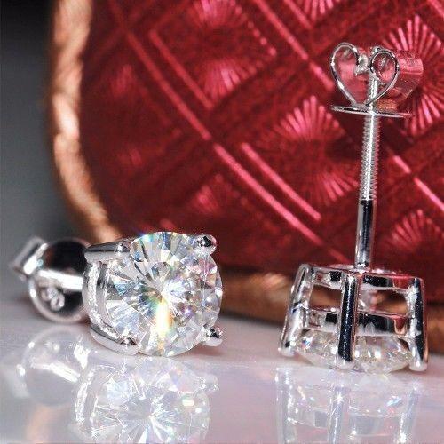 2 Ct Near White Classic Round Cut Moissanite Stud Earrings 9K In White Gold