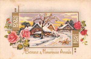 CPA-Fantaisie-Bonne-et-Heureuse-Annee-Paysage-de-neige-dans-un-cadre