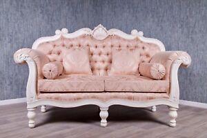 Divano Rosa Cipria : Barocco divano sofà imbottitura crema massiccio antico bianco