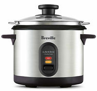 Rice Cooker Steamer Breville 7 Cups Capacity Electric Stainless Steel Pot Lunch