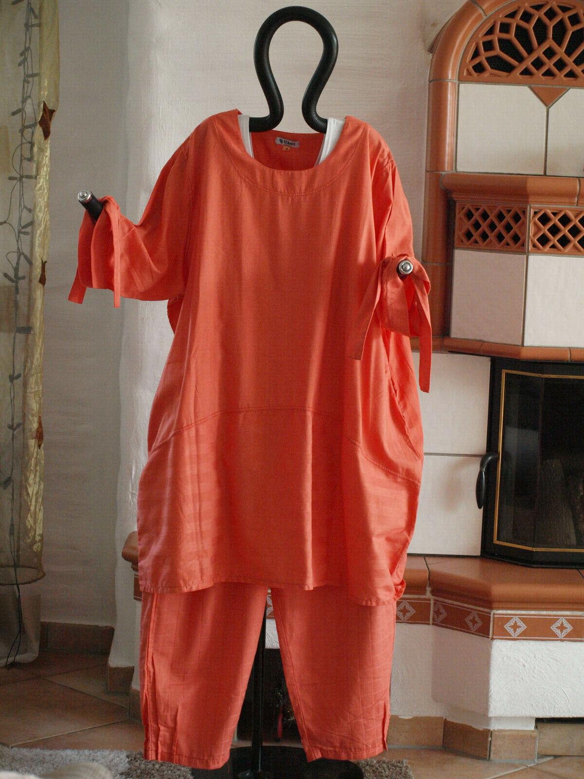 1840 LABASS Lagenlook Big Shirt Ballonform mandarin Orange gestreift XL 48 50