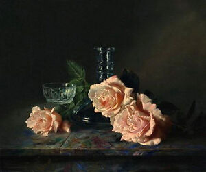 Oil-painting-Antonov-still-life-rose-flower-with-glass-cup-vase-on-table-canvas