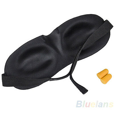 Sleeping Eye Mask Blindfold w/ Earplug Shade Travel Sleep Cover Light Guide BD4U