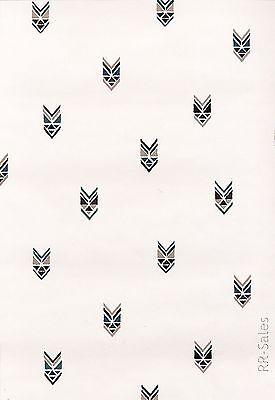 Tribal Print Arrow GeometricSports Emblem  Rustic Gold Green Vinyl Vtg Wallpaper