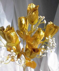 84-GOLD-Silk-Roses-Buds-Wedding-Bouquet-Flowers-50th-Anniversary-Centerpiece-NEW