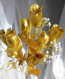 84 GOLD Silk Roses Buds Wedding Bouquet Flowers 50th Anniversary Centerpiece NEW