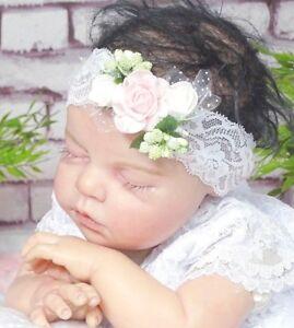 Baby Mädchen Haarband Stirnband Kopfband Rosen Prinzessin christening baptism