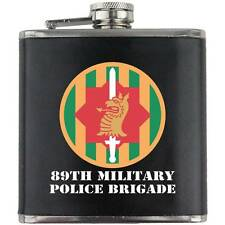 Army 89th Military Police Bde Veteran Full Color Groomsman Gift Leather Flask
