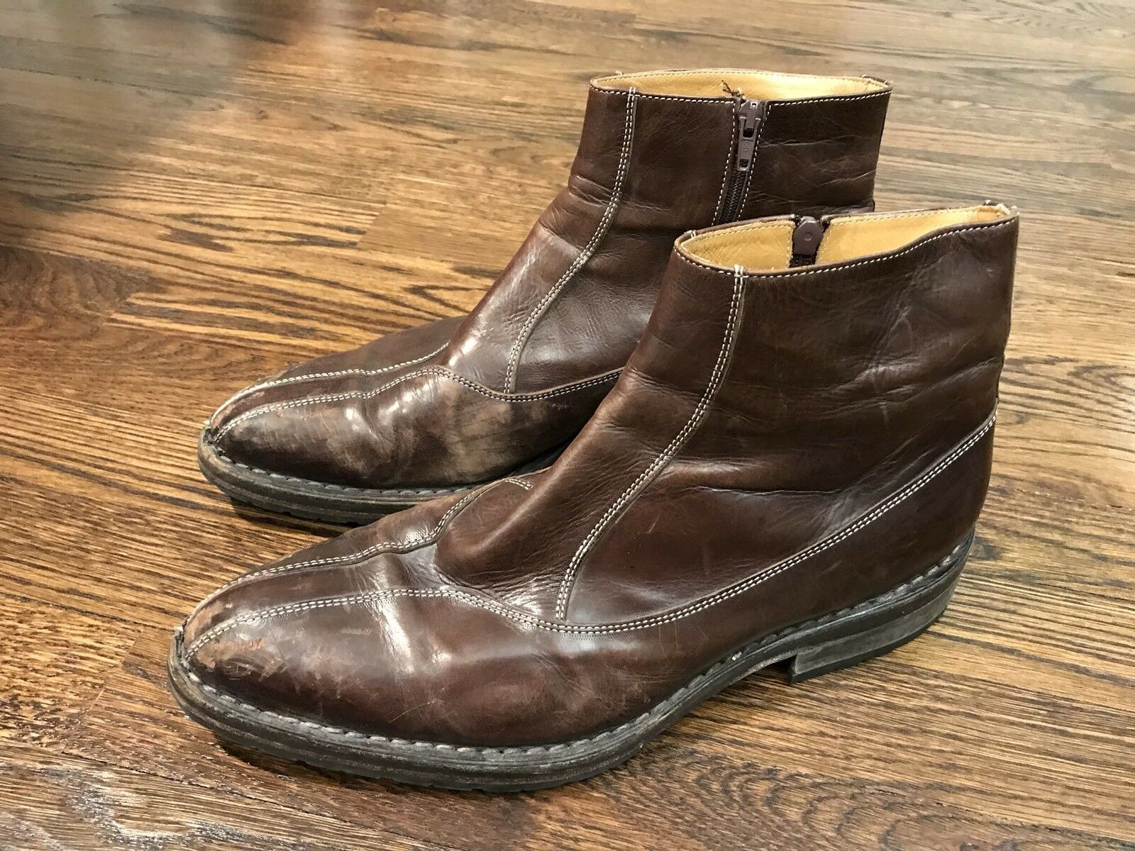 Francesco Benigno Brown Leather shoes boots Sz US 10.5 EU 44