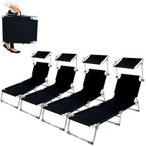 4x-Alu-chaise-longue-de-jardin-pliante-transat-bain-de-soleil-pare-soleil-noir