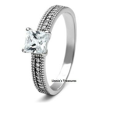 Princess Engagement Ring 5mm CZ Solitaire Pave 925 Sterling Silver