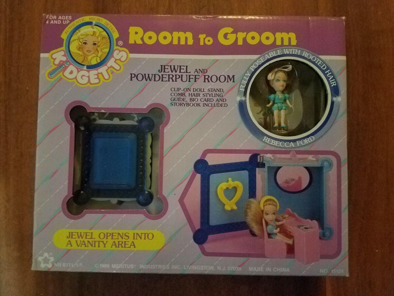 Nunca quitado de la Caja Vintage Meritus kidgetts espacio para Novio Joya & Poweder Puff Sala Nuevo