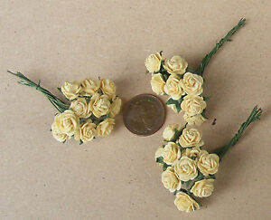 1:12 Scale 3 Bunches (30 Flowers) Of Yellow Paper Roses Dolls House Miniature E