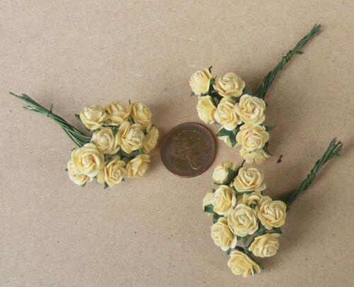 Échelle 1:12 3 Grappes (30 fleurs) de papier jaune roses tumdee Maison de Poupées e