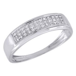 10K-White-Gold-Mens-Pave-Round-Diamond-Wedding-Band-Anniversary-Ring-0-16-Ct