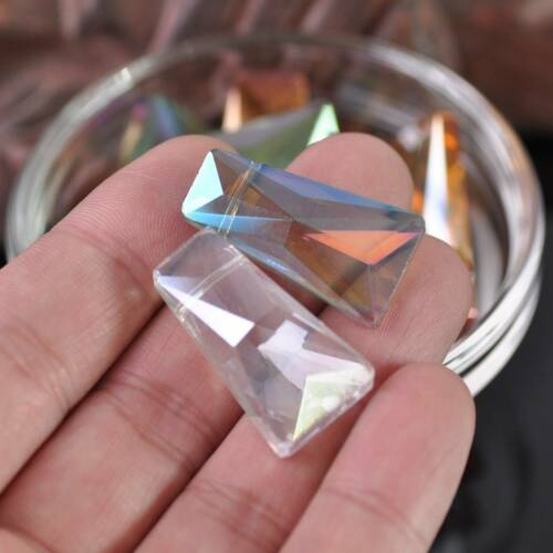 10pcs 20//28mm Charms Trapezoid Faceted Pointed Crystal Glass Loose Spacer Beads